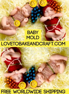 Baby mold, silicone baby mold, Sugarpaste baby mold. Free shipping (1)